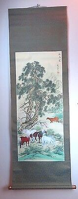 "Original Chinese Art Paper Wall Scroll Horses Trees Landscape Scene - 24"" x 66"""