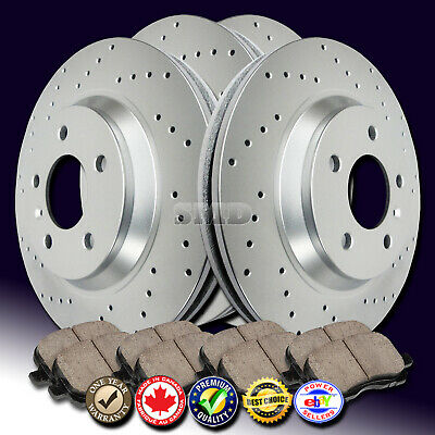 A1076 FIT 2007 2008 2009 2010 Lincoln MKX AWD Drilled Rotor Ceramic Pads F+R