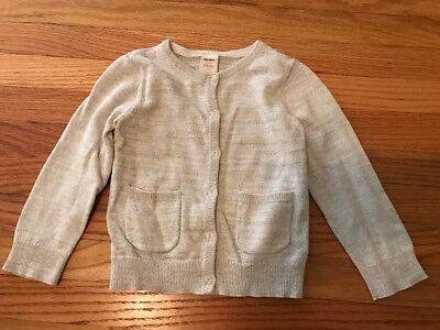 OLD NAVY Sparkly Gold Metallic Cardigan Sweater Clear Buttons, Size 3T