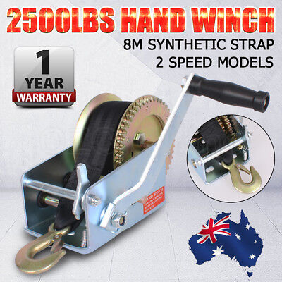 2500LBS/1136KGS 2 Speed 8m Strap Gear Hand Winch Boat Trailer 4WD Safety Pawl OZ