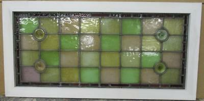 "LARGE OLD ENGLISH LEADED STAINED GLASS WINDOW Colorful Geometric 36"" x 18"""
