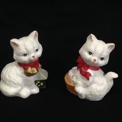 2 White Christmas 2.5 Cats Red Bow Ceramic Holiday Bisque Kittens