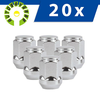 """20 Chrome Steel 12x1.5 Lug Nuts Bulge Acorn Cone Seat for Ford Escape 3/4"""" Hex"""