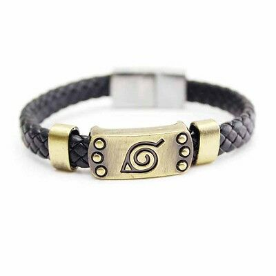 Anime Naruto Bracelet Leaf Mark Brown Wristband Cosplay Bangle For Fan NOUVE