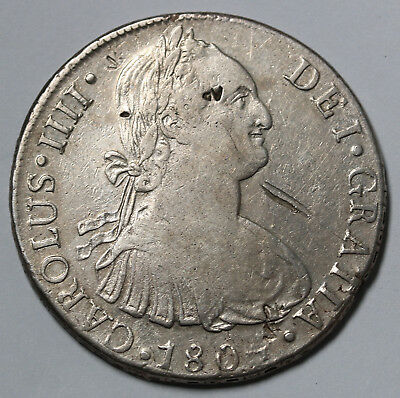 1804 JP Peru 8 Reales KM# 97 Lima Silver Coin Counterstamped