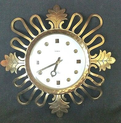Semca Solid Brass Wall Clock 15 Jewels Swiss Made Eight Day Wind Up