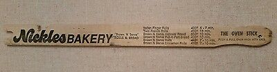 """Vintage """"The Oven Stick"""" Ruler with Advertisement for Nickles Bakery"""