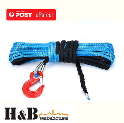 10MM x 30M Dyneema Winch Rope G80 Hook Synthetic Cable 4WD Tow Recovery C0008