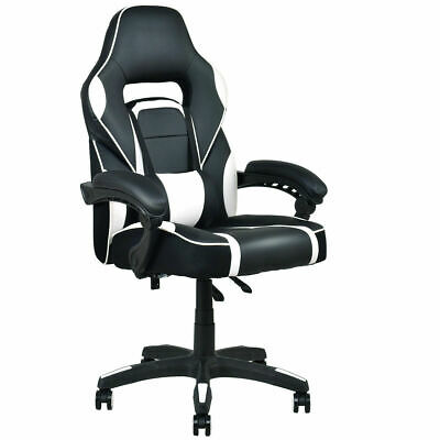 Executive Racing Style PU Leather Gaming Chair High Back Recliner Office White
