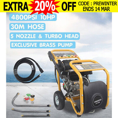 $396 4800PSI High Pressure Washer Cleaner 10HP Water Petrol 30M Hose Gurney Pump