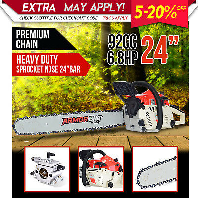 NEW Armorbilt 92cc Chainsaw 24inch Bar Petrol Commercial Pruning Top Handle