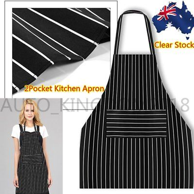 100 Apron Washable Cotton Poly Pocket Butcher Waiter Chef Kitchen Cooking Unisex