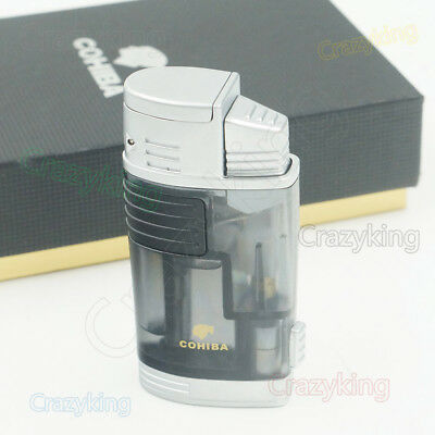 COHIBA Gray translucence  2 Torch Jet Flame Cigar Cigarette Lighter With Punch