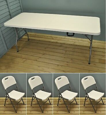 Folding Trestle Tables White 6ft Dining Table and Folding Chairs