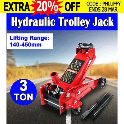 VEH-TOO 3 Ton Hydraulic Trolley Jack Lifts 3T Low Profile SUV 4WD Car Truck Jack