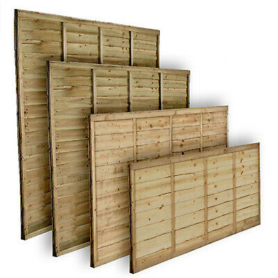 Tanalised Wooden Garden Lap Fence Panels Overlap Fencing Panel 6ft 5ft 4ft 3ft