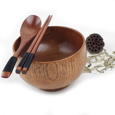 Wood Bowl Retro Style Small Wooden Bowl Chopsticks Spoon Set Kitchen Dining