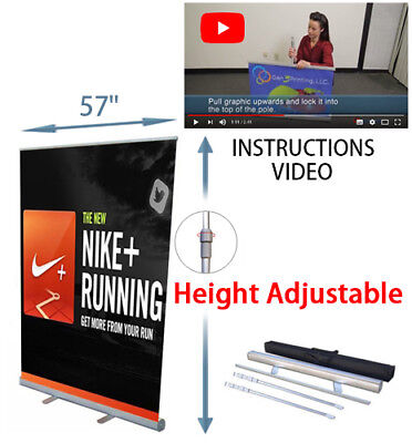 """Retractable Roll Up Banner Stand 57"""" x 78"""" Advert Display Sign"""