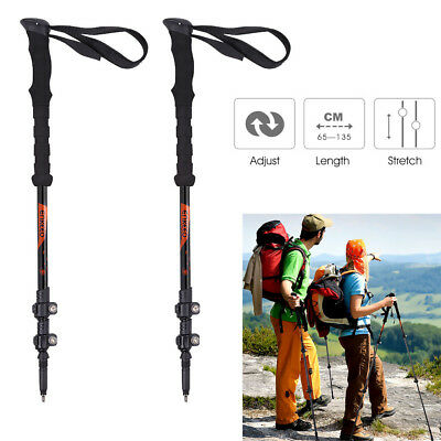 Enkeeo Trekking Hiking Stick Pole Alpenstock Foldable Climbing Carbon Anti-Shock