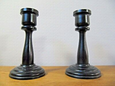 """Pair of Candlesticks, Stamped """" Real Ebony """"  Vintage Wooden Turned Candle Stick"""