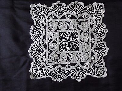 Beautiful Vintage Handmade Cotton Crochet Ivory Brussels Lace Tablecloth