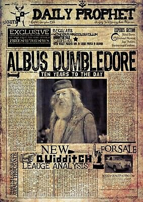 Harry Potter The Daily Prophet Newspaper Albus Dumbledore Poster A4 A3 3RD FREE