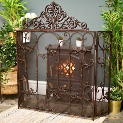 "Antique Brown ""Althrope"" Vintage Large Fire Guard Or Fire Screen"