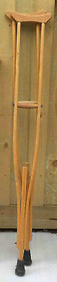 Assorted Vintage Timber Wooden Crutches 6 Sets Different Sizes Adult & Child