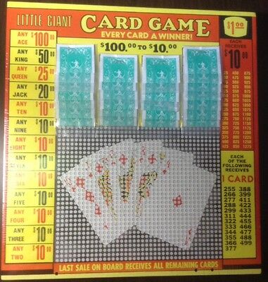 $1.00 LITTLE GIANT CARD Punch Card Money GAME Board Raffle Gambling 1280 Hole