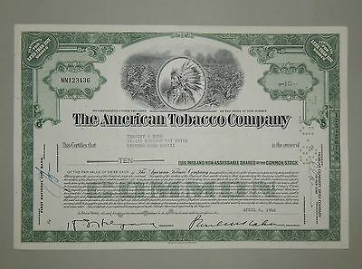 """The American Tobacco Company"" 10 Shares 1962 - common stock - Aktie Wertpapier"