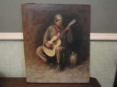 An old oil painting of a smoking guitarist