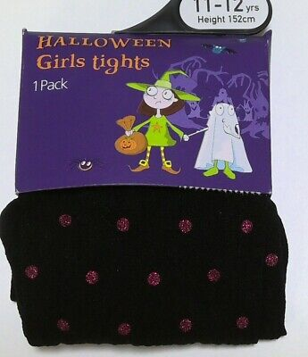 Girl's Ex Store Halloween Tights Black and Pink Glitter Spots