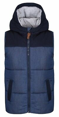 EX Dunnes Stores Boys Gilet Bodywarmer Padded Hooded 6 Mths to 4 Yrs Navy/Denim