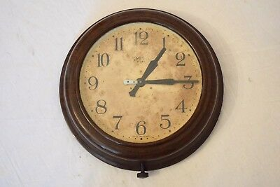 "1940s SMITHS 8 DAY 8"" VINTAGE BAKELITE SINGLE TRAIN INDUSTRIAL SCHOOL WALL CLOCK"