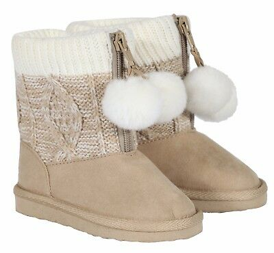 UK 1-5 Baby Girl Knit Pom Pom Warm Boots Booties Infant Toddler Newborn Snow UK