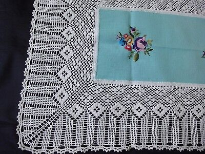 Gorgeous Vintage Handmade Embroidered Tablecloth with Cotto Crochet Lace