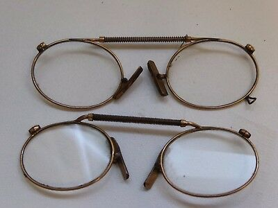 2 x Pairs of Vintage Pince Nez Spring Top Gold Plated Glasses Spectacles Ref#10