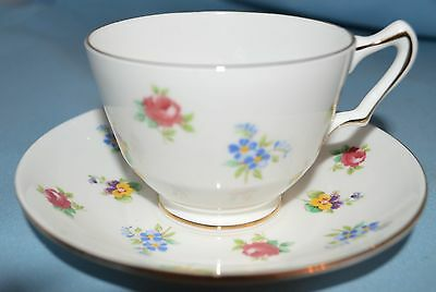Vintage Crown Staffordshire England Fine Bone China Tea Cup and Saucer Floral