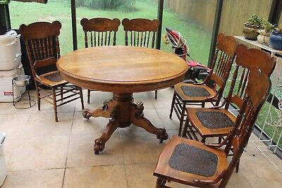 "Rare Early American Oak Claw Foot Round Dining 48"" Table only"