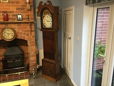 Lovely Antique Oak And Mahogany Grandfather  clock with a difference  is working