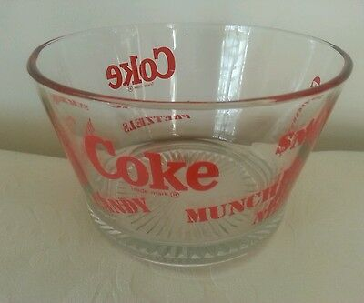 """Vintage Coke Coca-Cola Glass Bowl For, Candy, Munchies, Popcorn & Snacks - 7"""""""