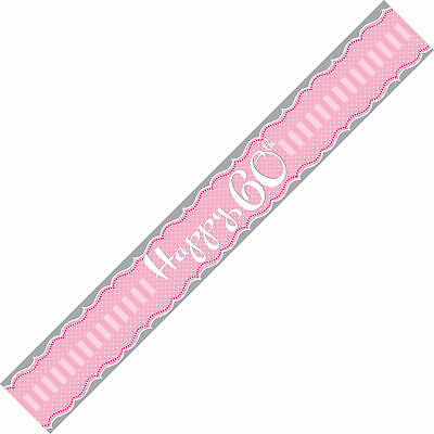 """Sash """"Happy 60th"""" Female Birthday Party Pink Wearable"""