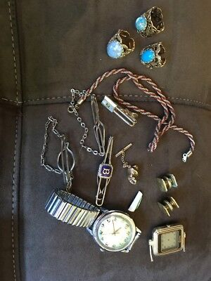 Lot of Vintage Jewely-Rare finds Tie Tacks, Rings, Watches