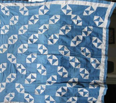 """Antique """"Hour Glass """" Blue and White Quilt Top #17909"""