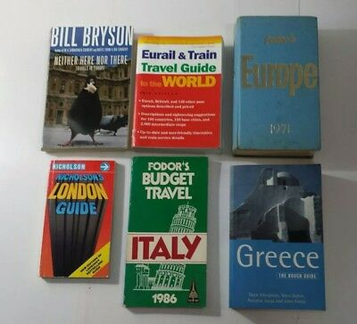 Lot of 6 Europe Guide Reference Books Italy 1971 London Greece - Eurail & Train