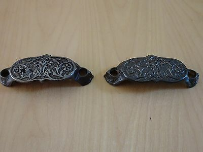 Lot Of (2) Vintage Ornate Metal Drawer Pulls
