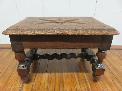 Lovely Original Victorian Carved Country Oak Step, Stand Or Foot Stool
