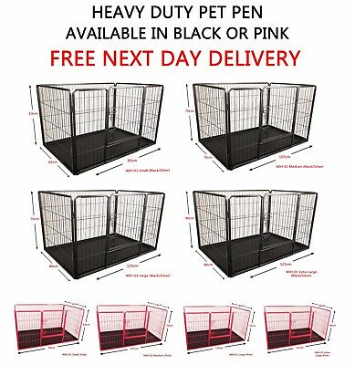 Heavy Duty Pet Dog Puppy Play Pen Whelping Enclosure Box Run Cage Pink Black