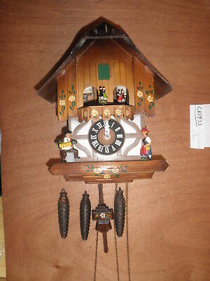 German made Vintage working SEE VIDEO musical Chalet 1 Day Cuckoo Clock CK1433