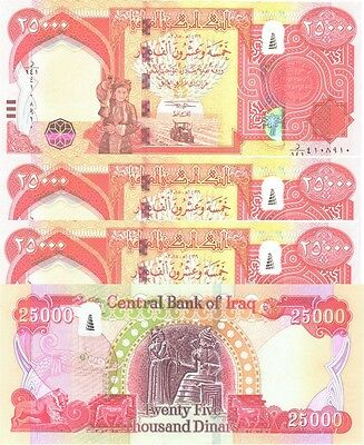 HUNDRED THOUSAND MINT IRAQ 4 x 25000 = 100,000 NEW IRAQI DINAR  2015-CERTIFIED!
